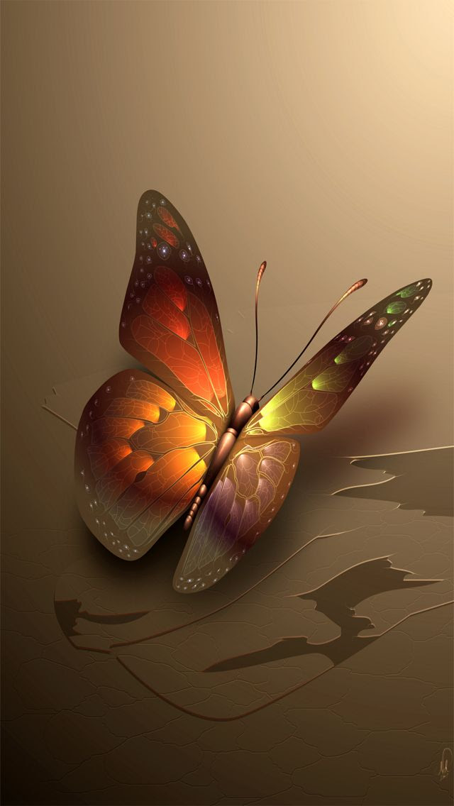 Brown Glowing Butterfly iPhone Wallpaper | Color - Glitter ...