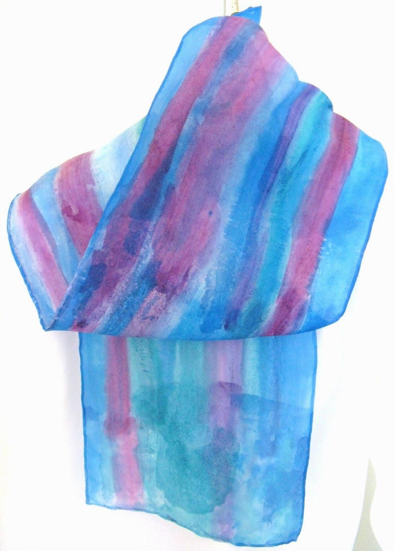 Raspberry blue abstract striped silk scarf - SilkDesignByJane