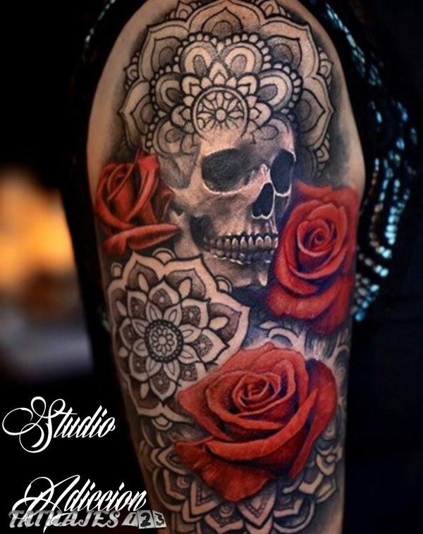 Craneo Calavera Rosas Mandala Tatuaje Tatuajes 123