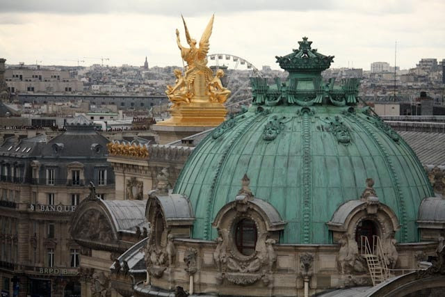 Paris Photography - mint Green Rooftops at the Paris Opera House - Paris, France 8x10 Fine Art Photograph -  home decor - Paris Decor