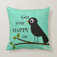 Cute Happy Quote with Bird Throw Pillow