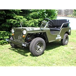 elektro kinderfahrzeuge willys jeep kinderauto mit 5 5 ps 70cc starkem benzinmotor. Black Bedroom Furniture Sets. Home Design Ideas