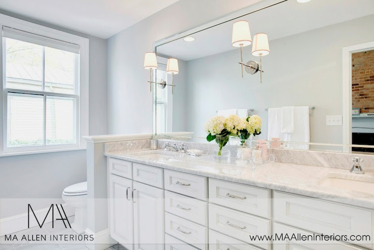 White Bathroom cabinets with marble Countertops - Contemporary ...