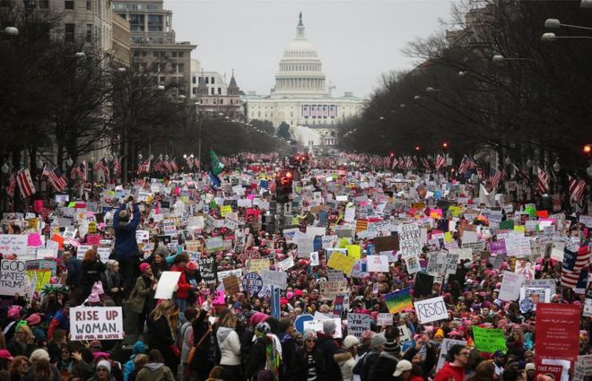 Protesters at the Women's March in Washington