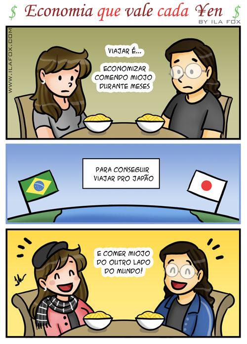 Economizando pra viajar pro Japão, quadrinhos by ila fox