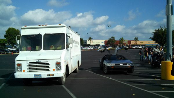 A regular DeLorean and Doc Brown's van from BACK TO THE FUTURE on display at Puente Hills Mall in the City of Industry...on October 18, 2015.