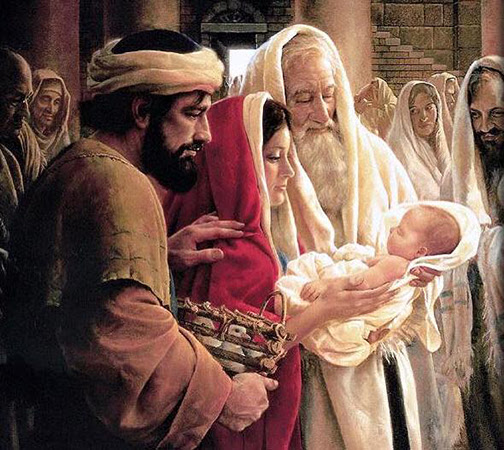 [Drawing of Simeon holding the baby Jesus]