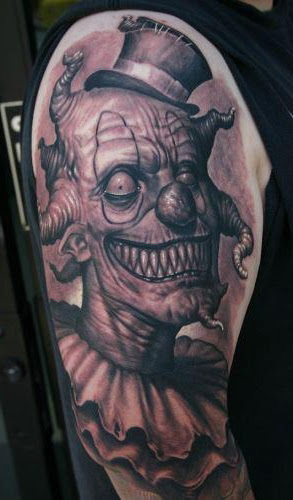 Creepy-Evil-Clown-tattoo-on-Shoulder.jpg (293×500)