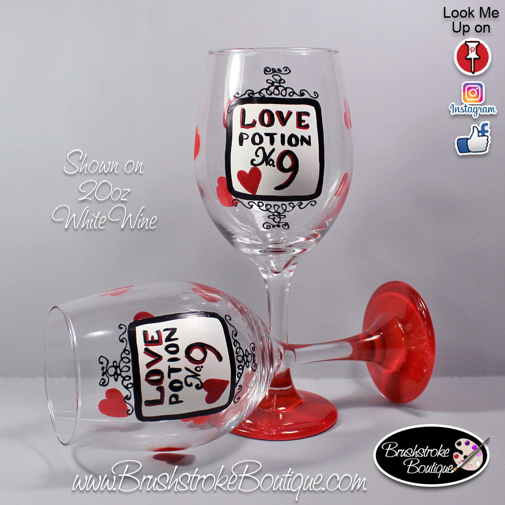 Hand Painted Wine Glass Love Potion Hearts Original Designs By Cat