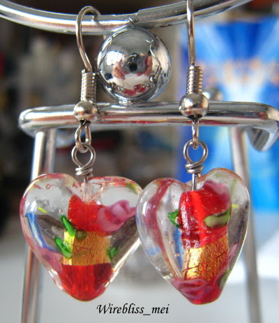 wire wrap earrings with glass beads