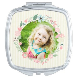 Delicate Yellow Stripes Custom Photo Floral Frame Mirror For Makeup