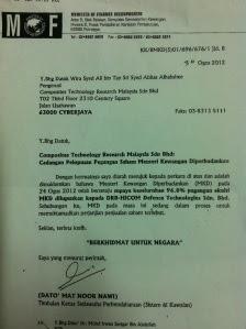 Surat MOF kepada CTRM bertarikh 30 Ogos 2012