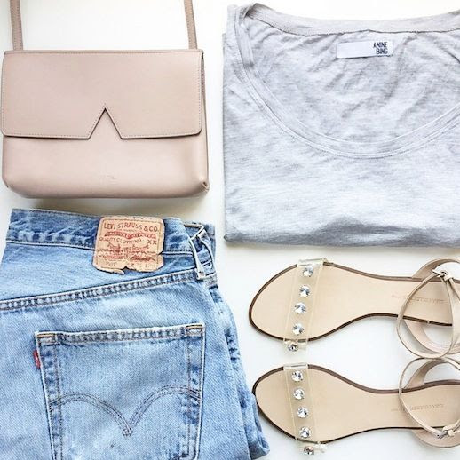 Le Fashion Blog Instagram Vince Nude Bag Anine Bing Grey Tee Vintage Levis Jeans Zara Sandals