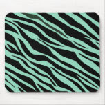 Mint Green Zebra Striped Mouse Pad