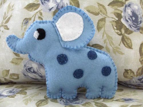 Blue felt elephant