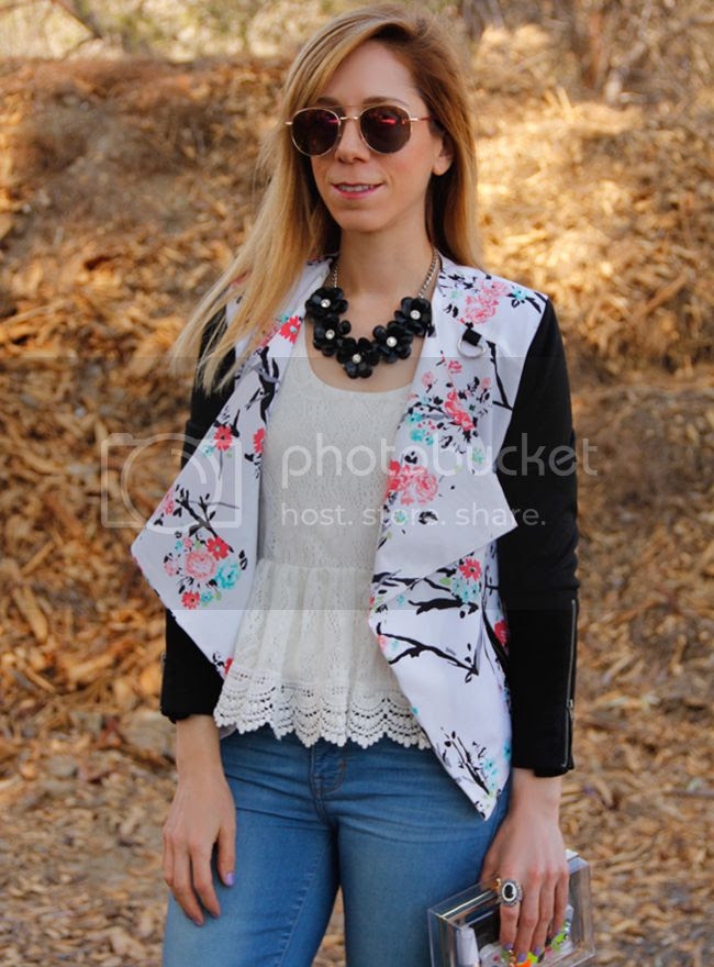 LA fashion blogger The Key To Chic wears an Xhilaration floral moto jacket with Mia and Moss cashmere denim a clear clutch