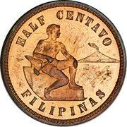 ½ Centavo (U.S. Administration) – reverse