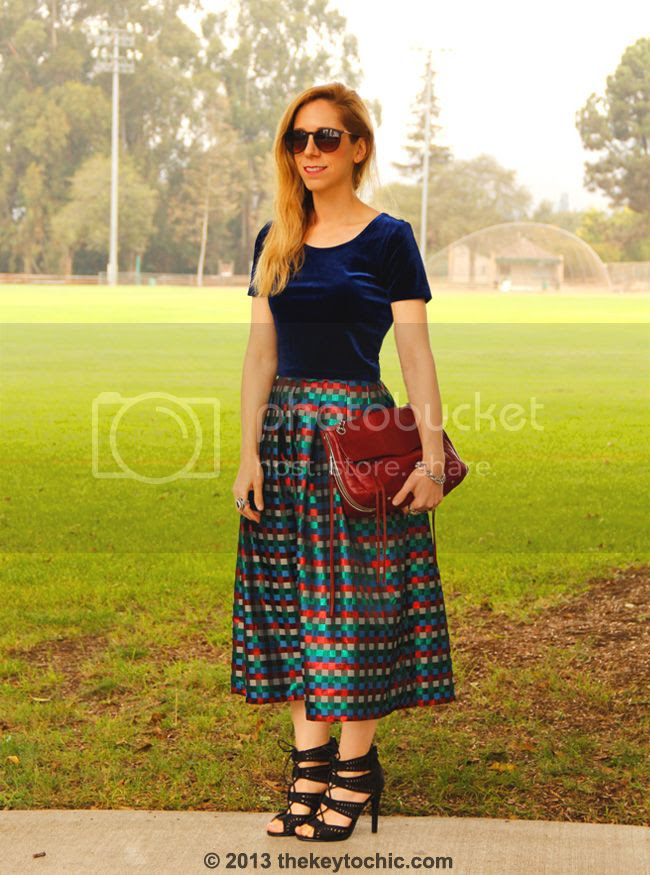 Los Angeles fashion blogger The Key To Chic wearing a Forever 21 velvet crop top and vintage midi skirt with Charlotte Russe laser cut heels.