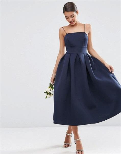 WEDDING Strappy Pini Scuba Prom Midi Dress   Carrie