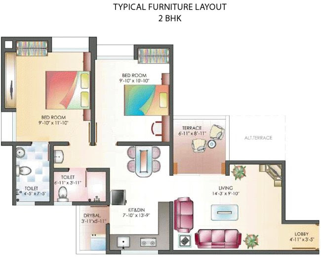 A 2 BHK Flat - 614 sq.ft. Carpet + 63 sq.ft. Terrace for Rs. 31.68 Lakhs - All Inclusive Property Price - at Dreams Wisteria, 1 BHK & 2 BHK Flats at Pisoli, Pune 411 028