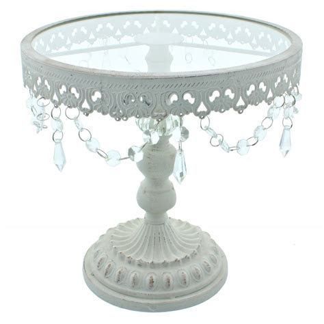 11 Inch White Shabby Chic Cake Stand   Vintage Glamour