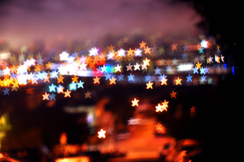 star bokeh skyline. sf with shaped bokeh hood.