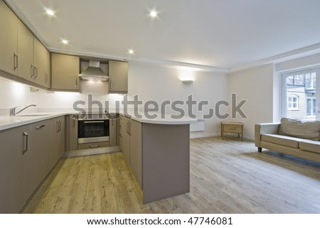 Modern Open Plan Kitchen With Hard Wood Floor Stock Photo 47746081 ...