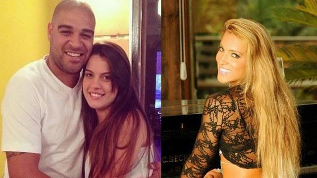 Barraco: Adriano com a namorada Bruna, e Dani Vieira