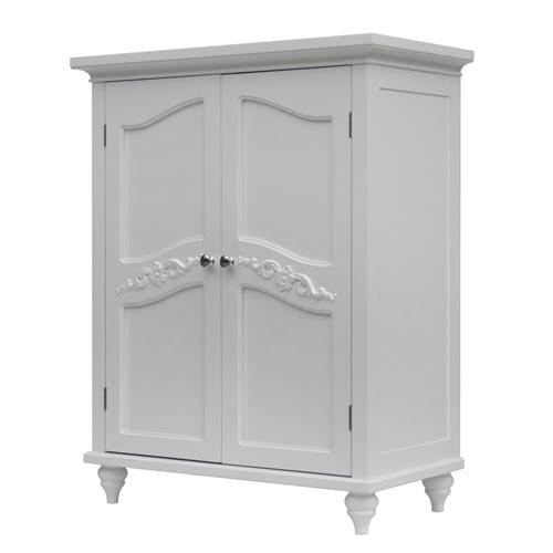 Bathroom Linen Storage Floor Cabinet with 2-Doors in ...