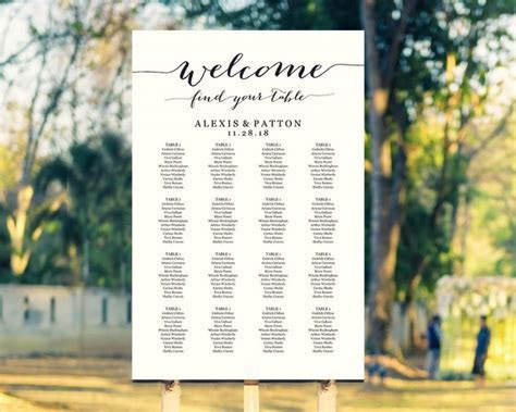 Welcome Wedding Seating Chart Template In FOUR Sizes, Find