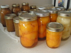 Canned Peaches Pears and Applesauce