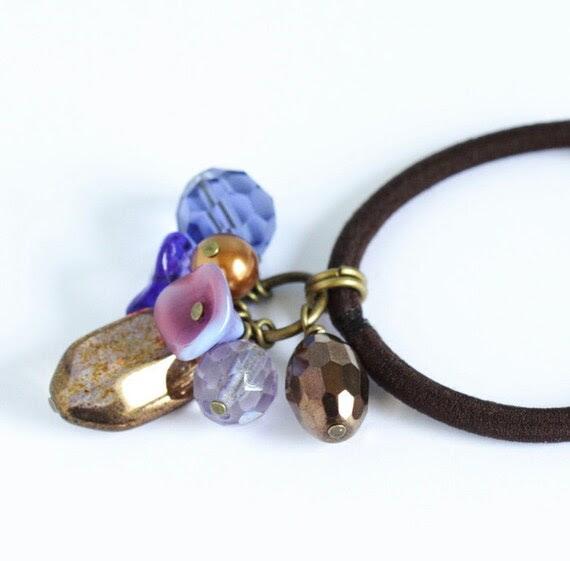 Beaded Hair Elastic - Purple and Bronze