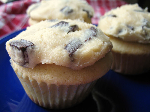 Chocolate chip cookie dough-topped cupcakes