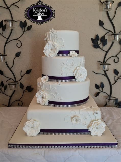 4 Tier Round And Square Wedding Cake Purple And Bling