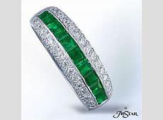 JB Star Platinum Emerald & Diamond Band   Diamond wedding bands, Stackable wedding bands