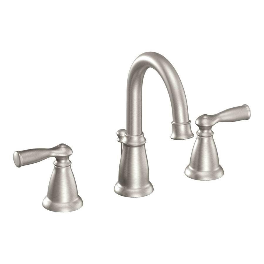 Moen Banbury Spot Resist Brushed Nickel 2 Handle Widespread Watersense Bathroom Faucet Drain Included In The Bathroom Sink Faucets Department At Lowes Com