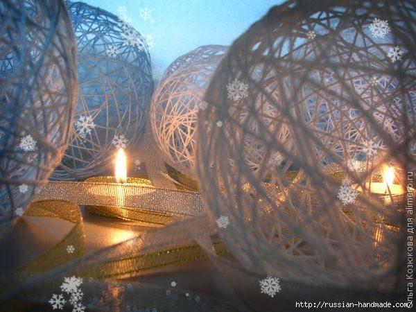 Нежные цветы, снеговик и декоративные шары из ниток. Мастер-классы (24) (600x450, 158Kb)