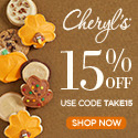 Save up to 15% off on select items of our delicious cookies and treats from Cheryls.com! Use promo code TAKE15