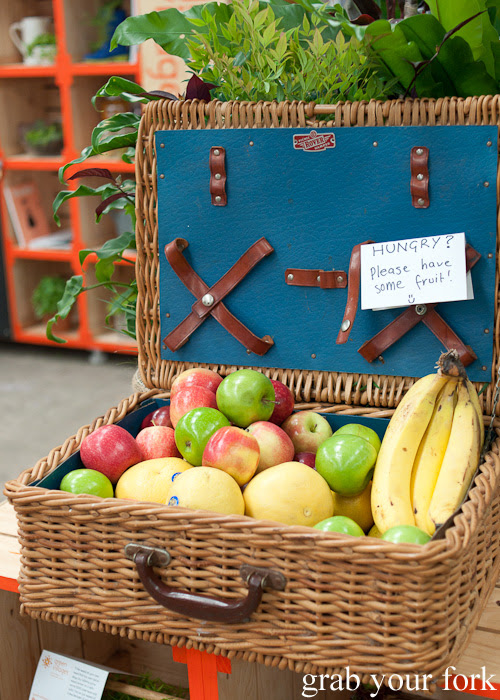 Free fruit at the City of Sydney Green Villages stall at the Sunday Marketplace, Rootstock Sydney 2014