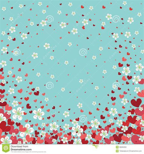 Heart Background With Cherry Flowers.Spring Design Stock