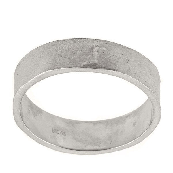 Mens Wide Textured Wedding Band Ring in 14k White Gold zoom Finely hand