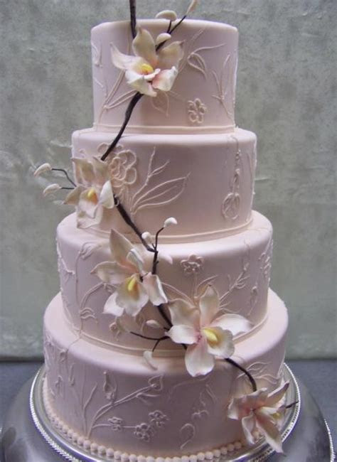Pink 4 Tier Wedding Cake with flowers & branches Hi