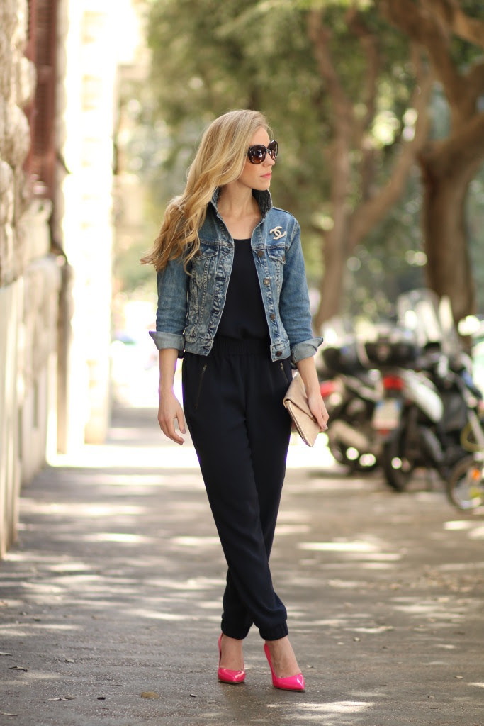 bold accents cropped denim jacket tapered track pants