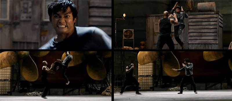 Tony Jaa kicks Marrese Crump in The Protector 2, this is a good example of starting on the last action in order to get a good cutting point when filming a fight scene.