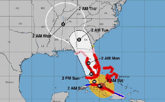 Posible trayectoria de Irma. Imagen: NOAA.