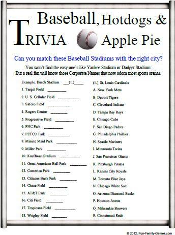 Baseball Trivia is a good challenge for your baseball ...