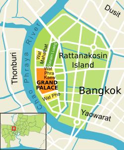 Location Map of Chakri Maha Prasat Hall - Grand Palace, Bangkok, Thailand