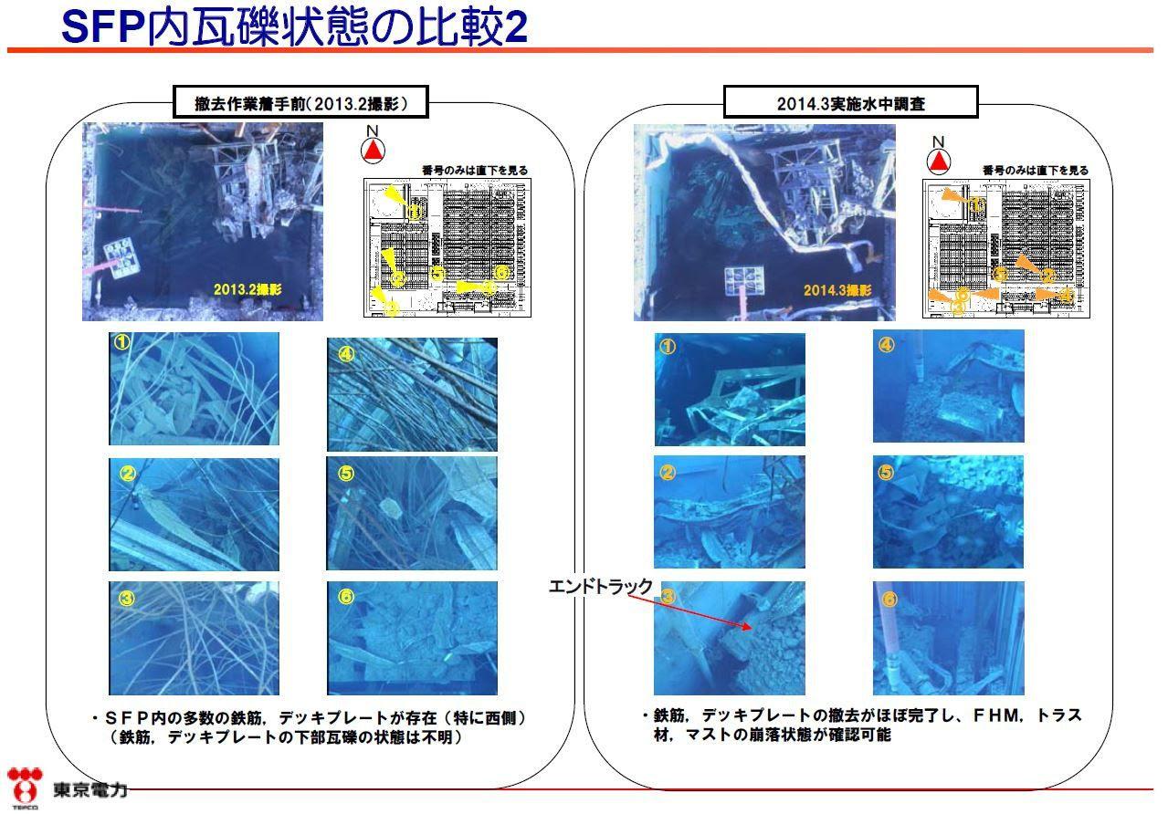 Fig. 59 : Investigations de Tepco dans la piscine de combustible du BR3 en 2013 et 2014
