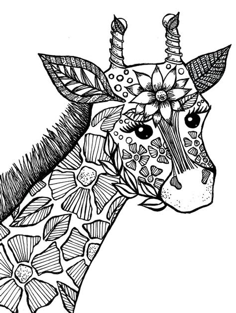giraffe adult coloring book page drawings ive