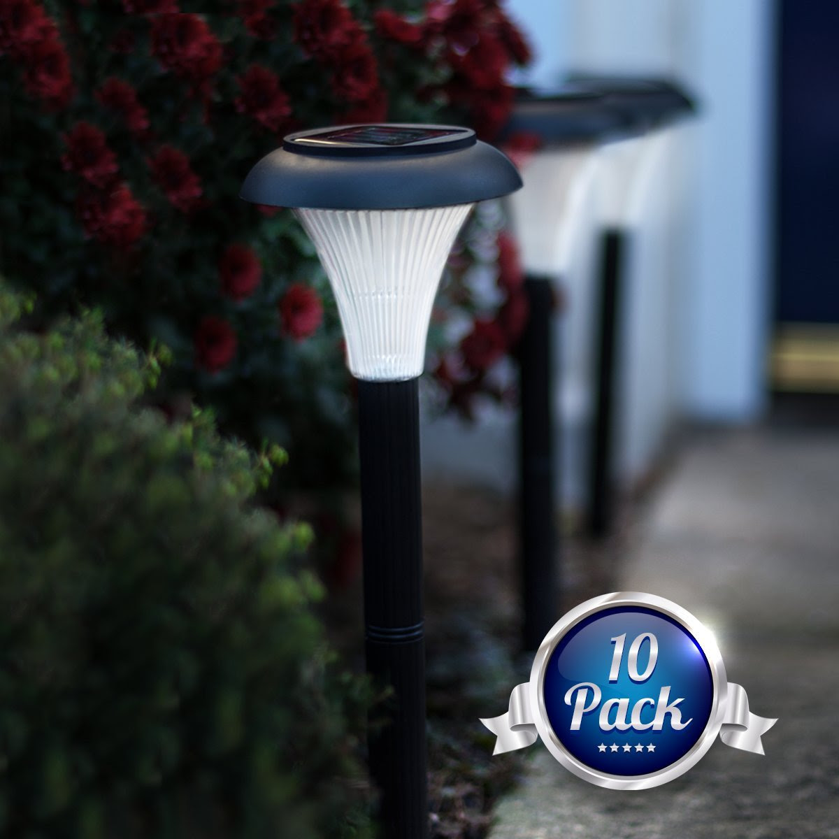 Solar LED Outdoor Light Set Of 10 Garden Lighting Path Yard Patio Lamp Decor New  eBay